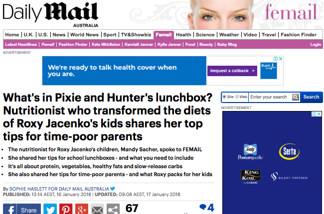 What's in Pixie and Hunter's lunchbox? Nutritionist who transformed the diets of Roxy Jacenko's kids shares her top tips for time-poor parents